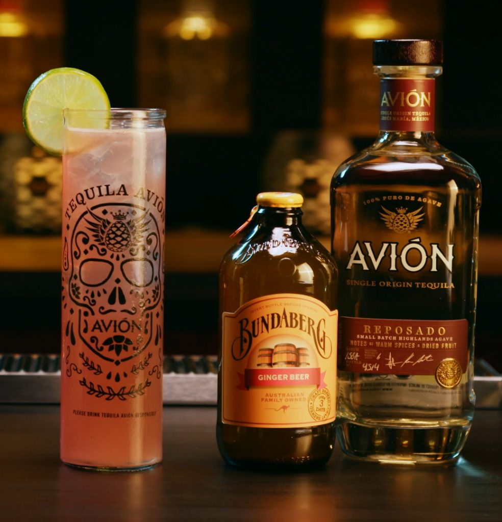 Afterlife cocktail pictured next to Bundaberg Ginger Beer and Avion Tequila