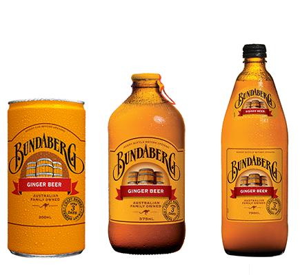 A mini can, bottle and large bottle of Bundaberg Ginger Beer