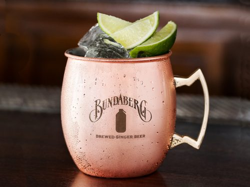 Moscow Mule Cocktail garnished with a lime wedge